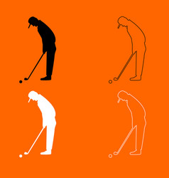 golfer black and white set icon vector image