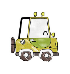 Grated kawaii smile tractor vehicle transport vector