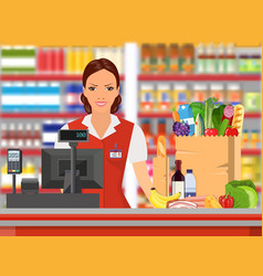Groceries cashier at work vector