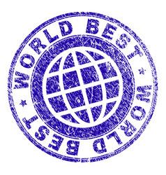 Grunge textured world best stamp seal vector