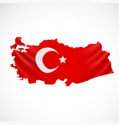 hanging turkey flag in form map republic of vector image
