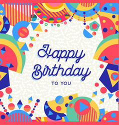 happy birthday party card with fun decoration vector image