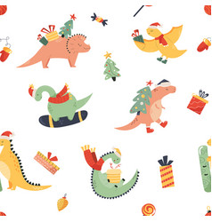 Holiday seamless pattern with cute dinos vector