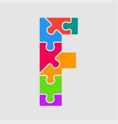 jigsaw font colour puzzle piece letter - f vector image