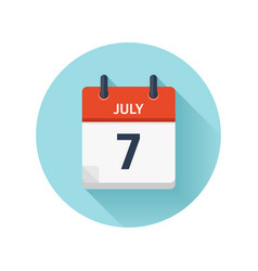 July 7 flat daily calendar icon date and vector