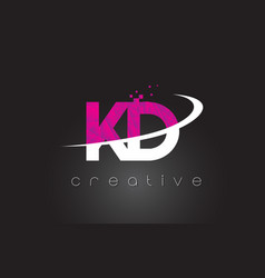 kd k d creative letters design with white pink vector image