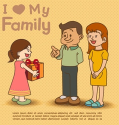 Kids giving gift to dad and mom vector image
