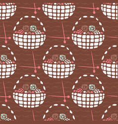 Knitting wool basket seamless pattern hand drawn vector
