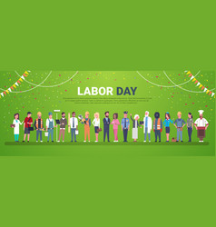 Labor day decoration poster with people of vector