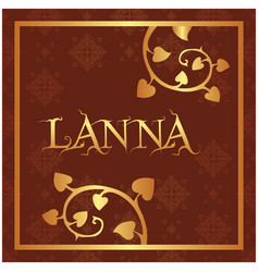 lanna bodhi leaves thai design red background vect vector image