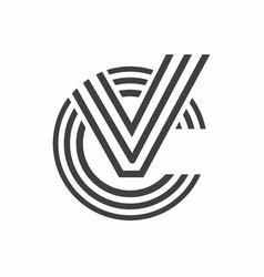 Letter cv line logo design vector
