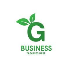 letter g with leaf logo vector image