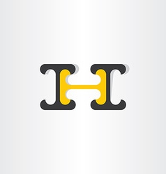 Letter h black and yellow icon vector