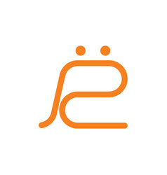 Letter r simple line logo vector