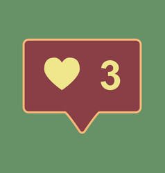 Like and comment sign cordovan icon and vector