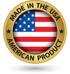 Made in usa american product gold label vector