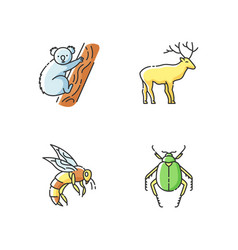 Mammals and insects rgb color icons set vector
