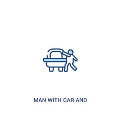 Man with car and suitcase concept 2 colored icon vector