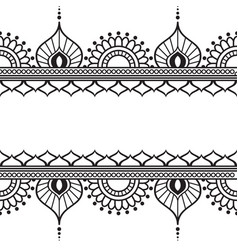 Mehndi henna line lace element with circles and vector