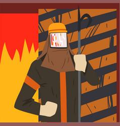 metallurgy industry steelmaker worker smelting vector image