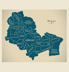 Modern city map - wigan city of england with vector