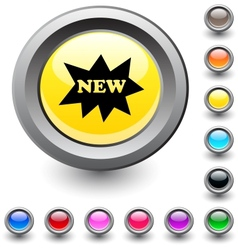 New round button vector image