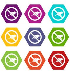 No rats sign icon set color hexahedron vector
