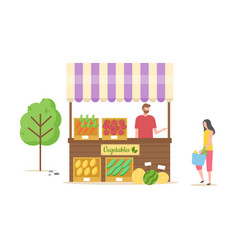 people at market vegetables veggies seller client vector image