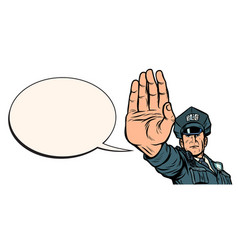 police officer stop gesture isolate on white vector image