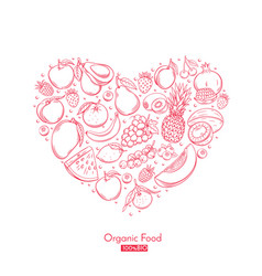 poster heart composition with hand drawn fruits vector image