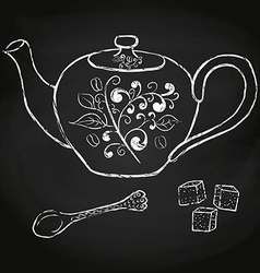 Pottery teapot sugar and spoon hand drawing vector
