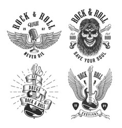 Rock and roll emblems vector