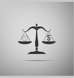 scale weighing money and time icon isolated vector image