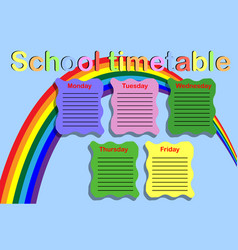 School timetable with paint cans vector