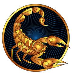 Scorpio golden zodiac sign horoscope symbol vector