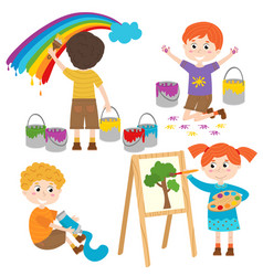Set of isolated children artist part 2 vector