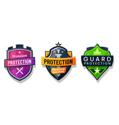 shield protection icons security safety signs set vector image