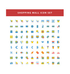 shopping and mall icon set with flat color style vector image
