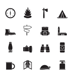 Silhouette Tourism and Holiday icons vector image
