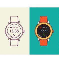 Smart watch retro design in outline line art style vector