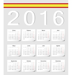 Spanish 2016 calendar with shadow angles vector