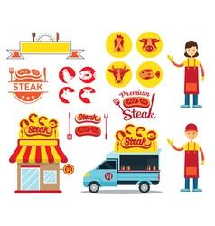 Steak Shop Graphic Elements vector image