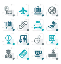 stylized airport and transportation icons vector image