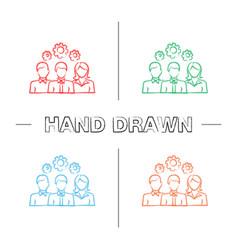 teamwork hand drawn icons set vector image