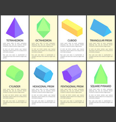 tetrahedron and octahedron geometric figures set vector image