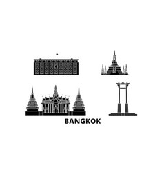 Thailand bangkok flat travel skyline set vector