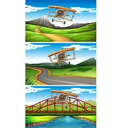 Three scenes of airplanes flying in sky vector image