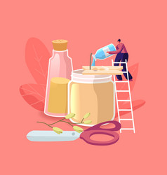 Tiny female character stand on ladder add scented vector