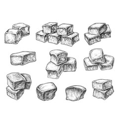 Toffee sweet caramel candy cube isolated sketch vector