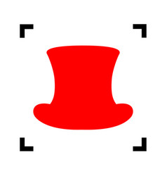top hat sign red icon inside black focus vector image